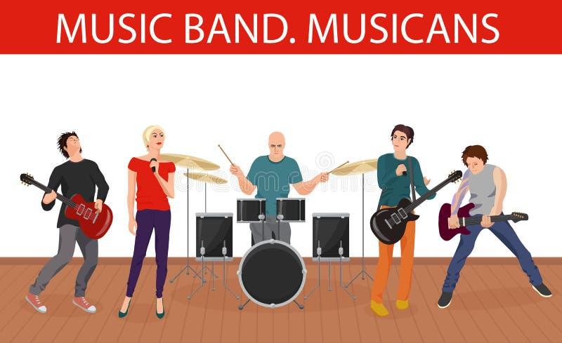 Иллюстрация вектора диапазона музыки музыкантов Молодая рок-группа бесплатная иллюстрация