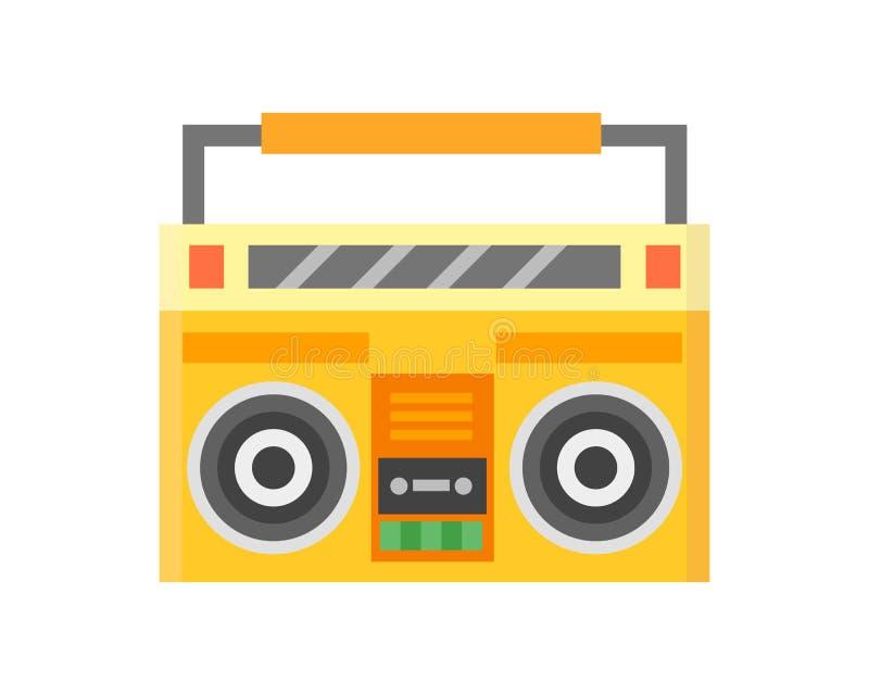 Иллюстрация вектора игрока звука музыки ретро оборудования показателя стерео рекордера кассеты взрывного устройства тональнозвуко иллюстрация штока
