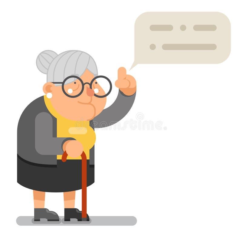 Иллюстрация вектора дизайна мудрого шаржа характера пожилой женщины бабушки наведения учителя плоская иллюстрация вектора