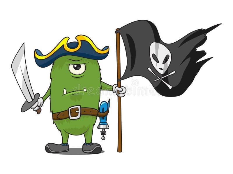 Иллюстрация вектора изверга пирата космоса шаржа бесплатная иллюстрация