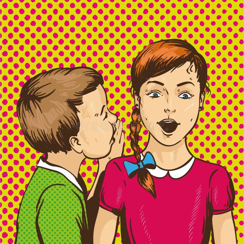 Иллюстрация вектора искусства шипучки ретро шуточная Оягнитесь шепча сплетня или секрет к его другу Один другого беседы детей иллюстрация штока