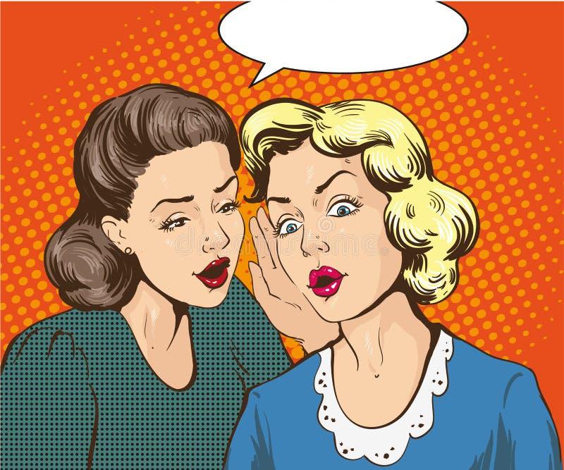 Иллюстрация вектора искусства шипучки ретро шуточная Сплетня или секрет женщины шепча к ее другу речи персоны пузыря вектор графи бесплатная иллюстрация
