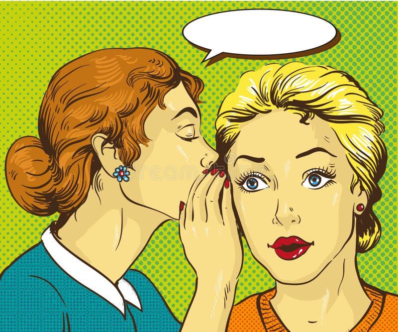 Иллюстрация вектора искусства шипучки ретро шуточная Сплетня или секрет женщины шепча к ее другу бесплатная иллюстрация
