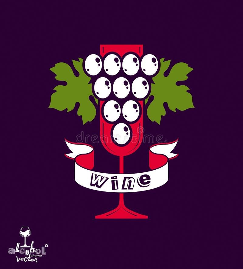 Иллюстрация вектора идеи eps8 винодельни Элегантный бокал вина с иллюстрация штока