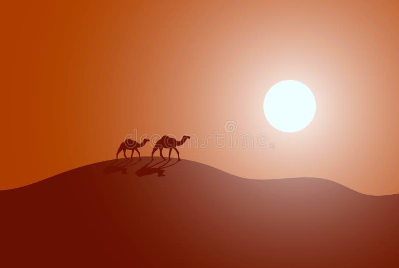 Иллюстрация вектора каравана в пустыне иллюстрация штока