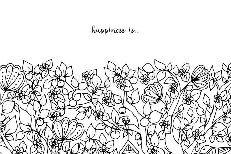 Иллюстрация вектора карточки с флористическим путать Дзэн знамен, doodling Яркий, красота моды Взрослые книжка-раскраски иллюстрация штока