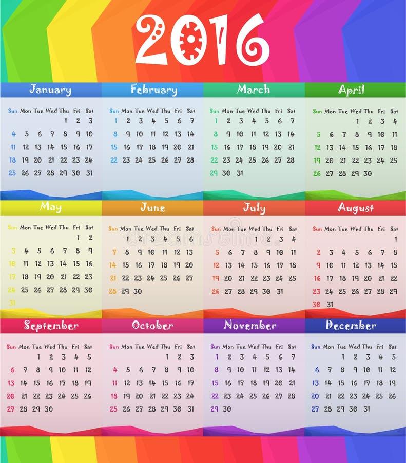 Иллюстрация вектора календаря стиля ребенка 2016 детей иллюстрация штока