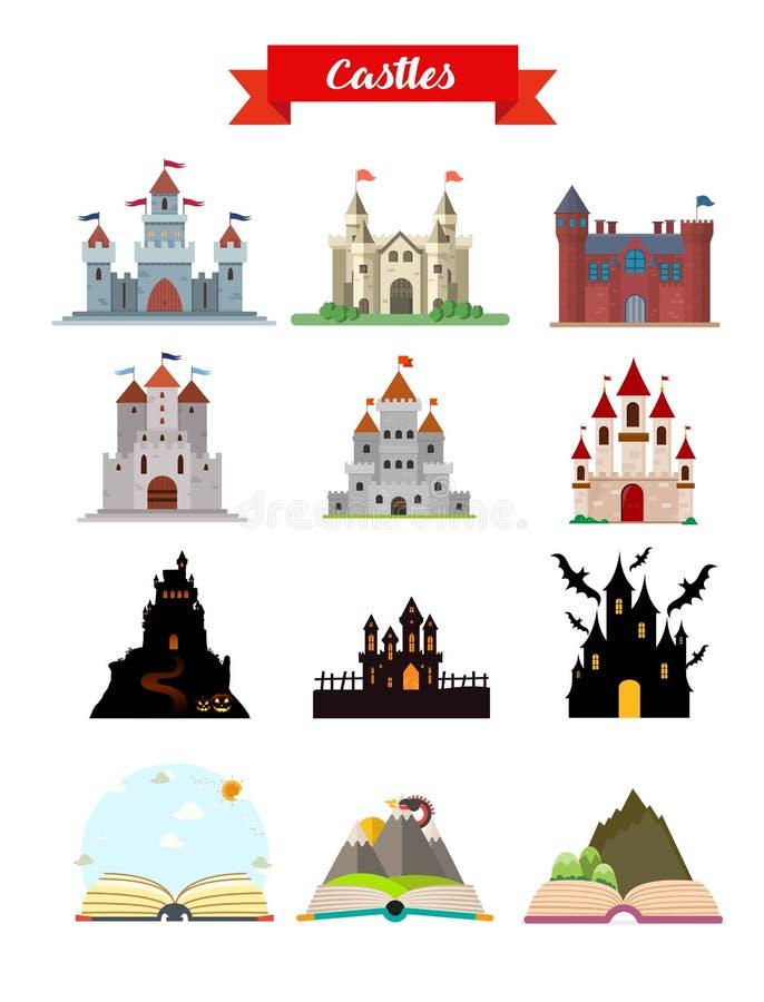 Иллюстрация вектора квартиры зданий замка установленная бесплатная иллюстрация
