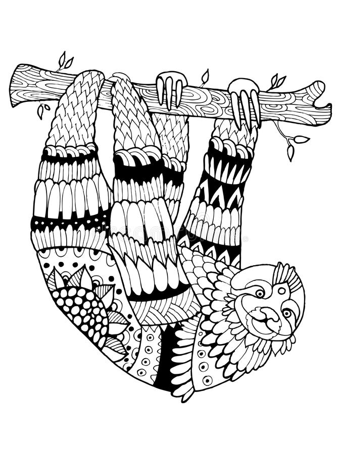 Иллюстрация вектора книжка-раскраски лени иллюстрация штока