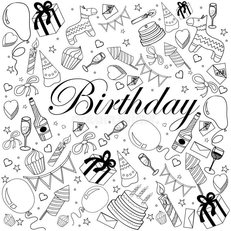 Иллюстрация вектора книжка-раскраски дня рождения бесплатная иллюстрация