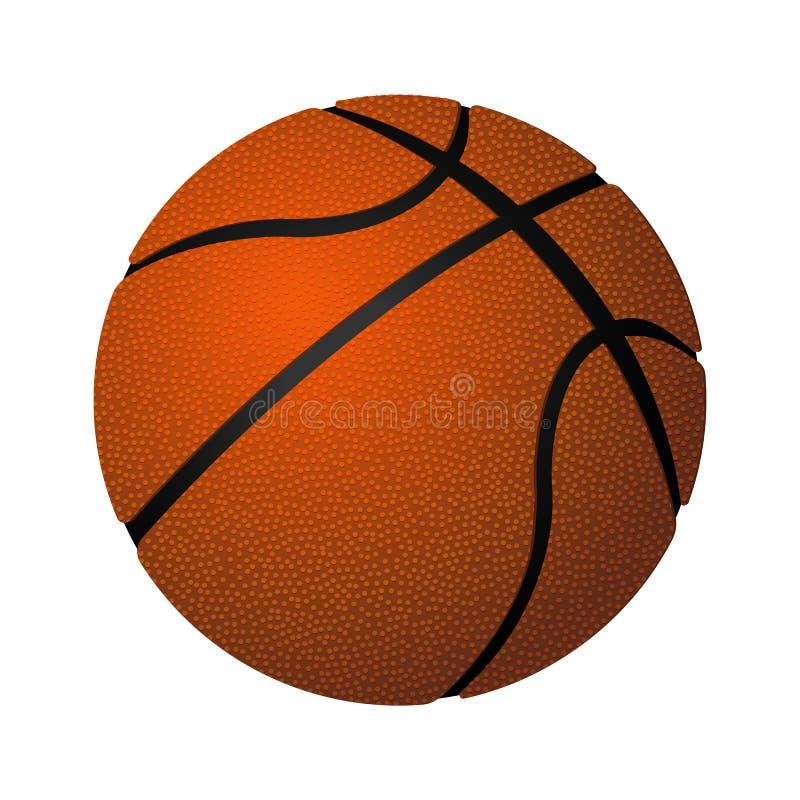 Иллюстрация вектора кожаного шарика баскетбола сферически надутая реалистическая иллюстрация штока