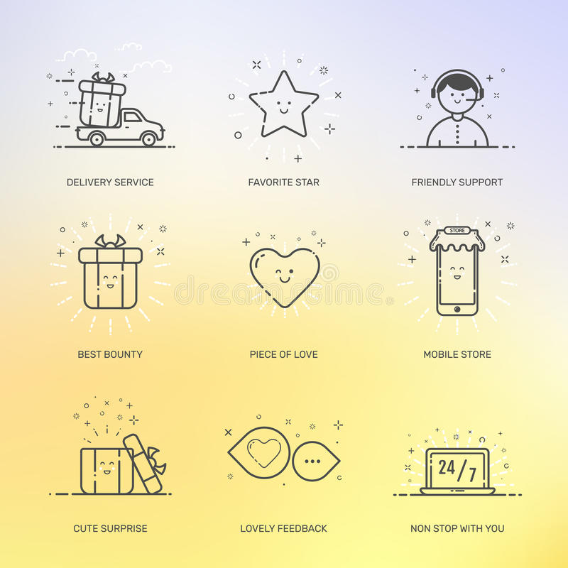 Иллюстрация вектора коммерции покупок значков установленной, маркетинга, концепции дела в линии стиле иллюстрация штока