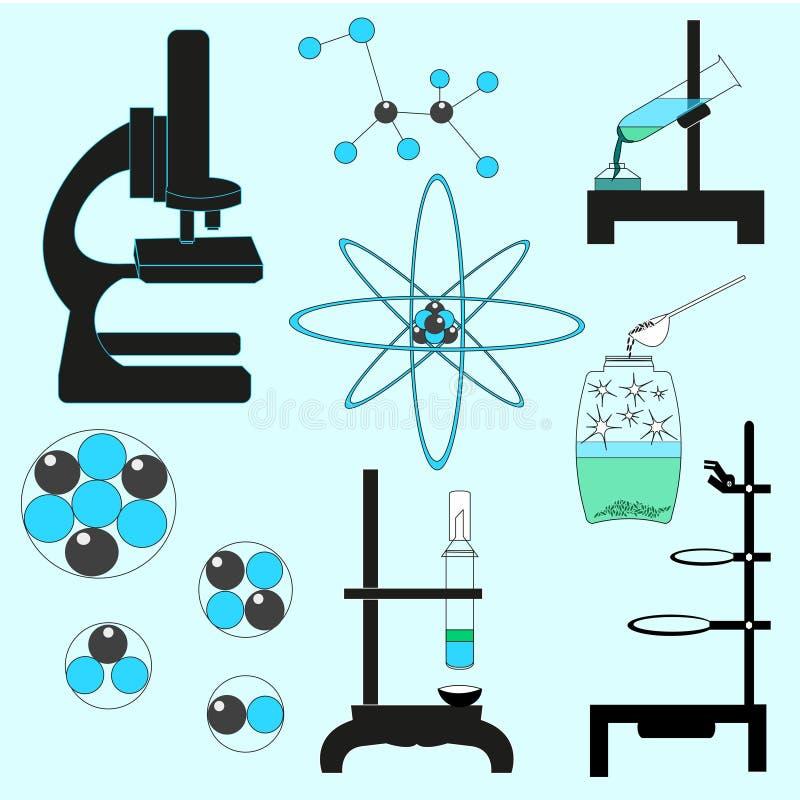 Иллюстрация вектора комплекта химии схематическая Учащ родственное вещество на свете - голубой предпосылке стоковое фото