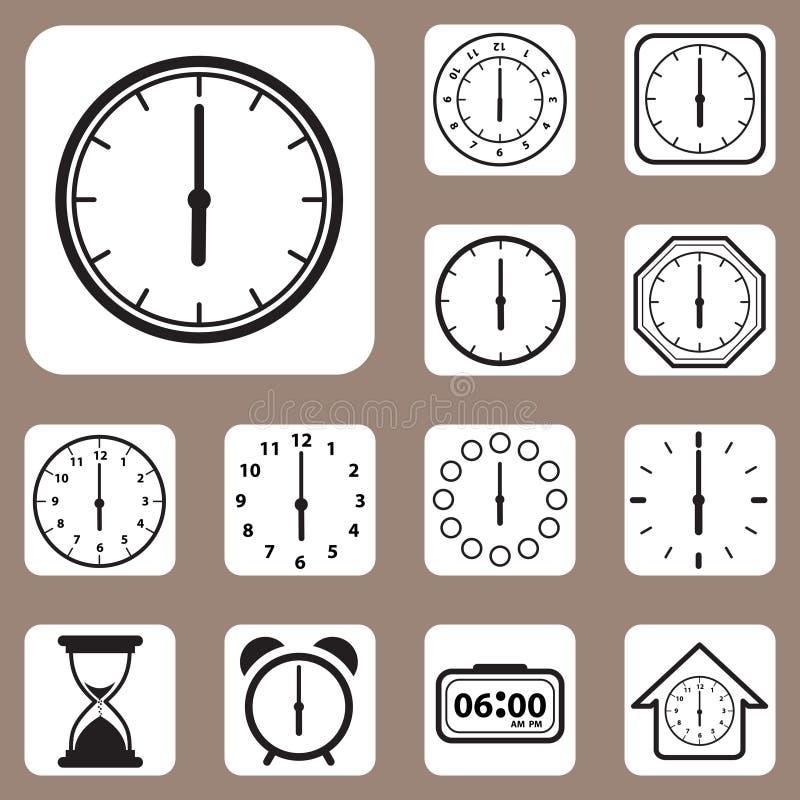 Иллюстрация вектора, комплект значка часов для дизайна и творческий w иллюстрация штока
