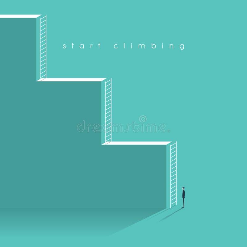 Иллюстрация вектора концепции лестницы карьеры корпоративная Бизнесмен начиная профессиональную работу с возможностями бесплатная иллюстрация