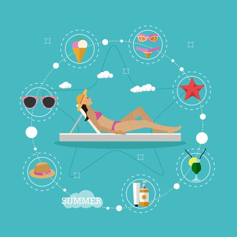 Иллюстрация вектора концепции каникул пляжа лета в плоском стиле Красивый купать солнца женщины в кресле для отдыха тропическо иллюстрация штока
