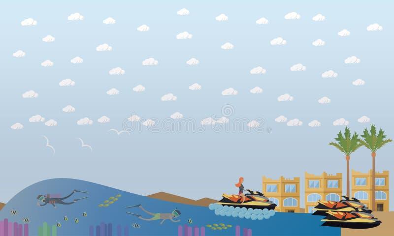 Иллюстрация вектора концепции каникул пляжа плоская иллюстрация вектора