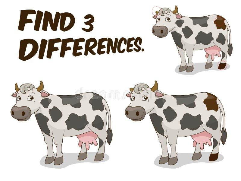 Иллюстрация вектора коровы игры разницах в находки иллюстрация вектора