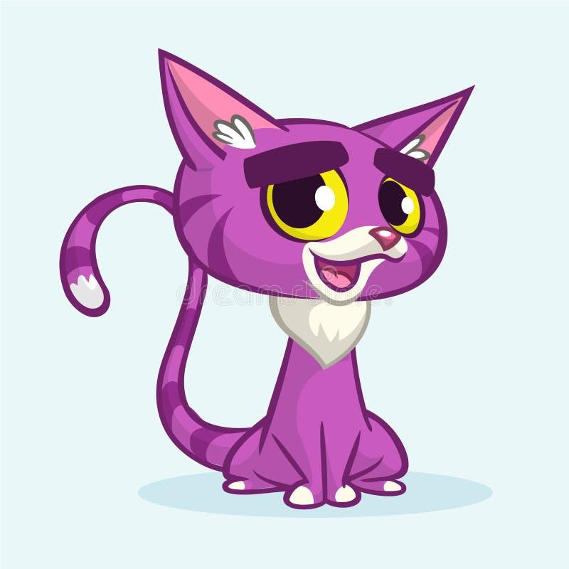 Иллюстрация вектора кота фиолета шаржа Милым кот обнажанный пурпуром иллюстрация штока