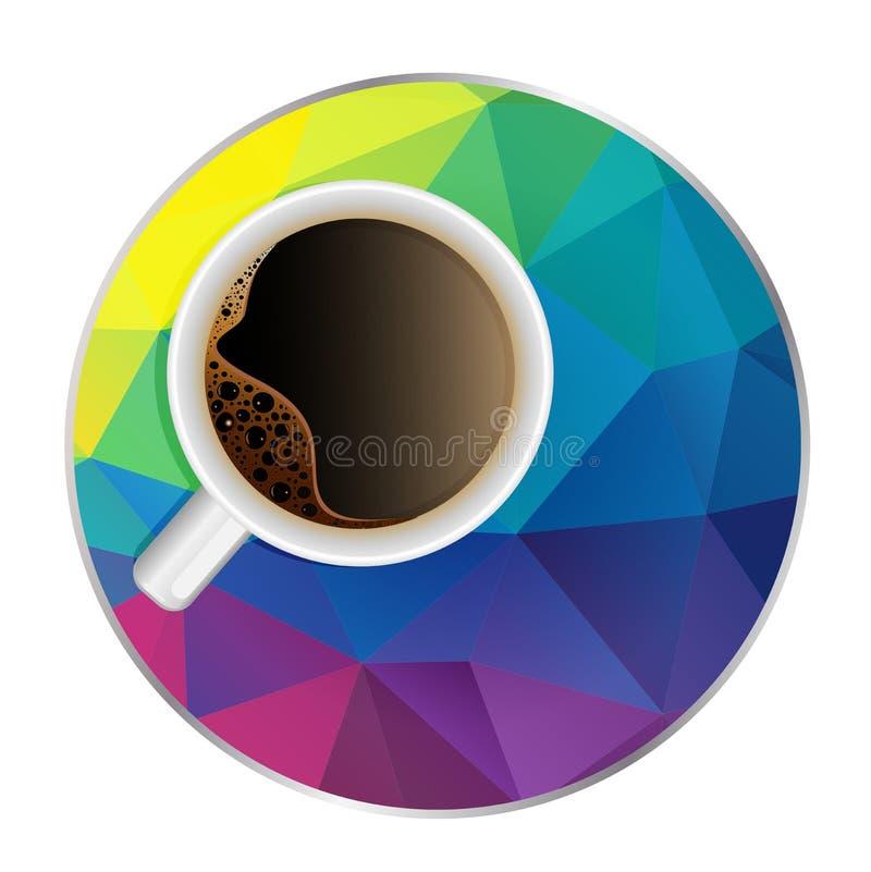 Иллюстрация вектора кофейной чашки в современное multicolor полигональном бесплатная иллюстрация