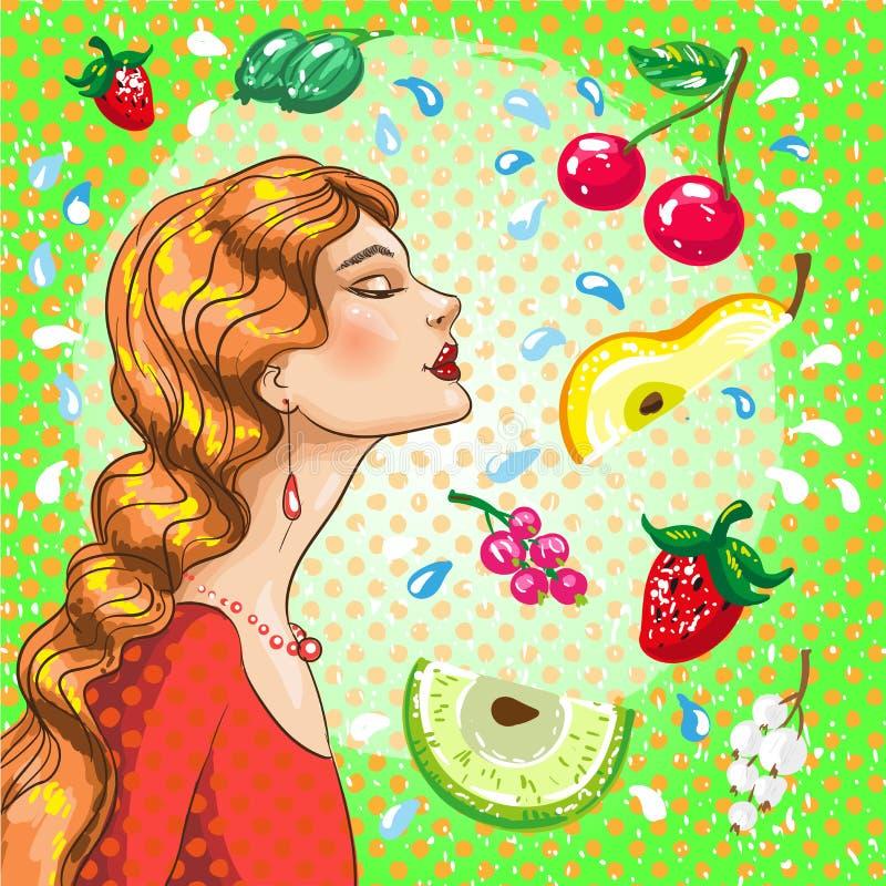 Иллюстрация вектора красивой девушки с плодоовощами иллюстрация вектора