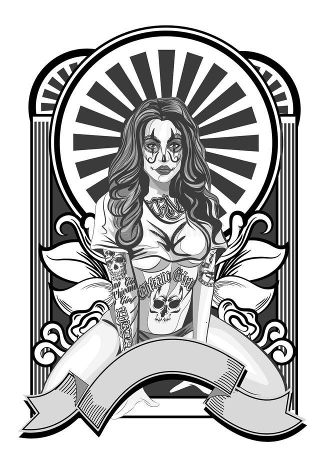 Иллюстрация вектора красивой женщины Мексиканско-американский стиль tatoo бесплатная иллюстрация