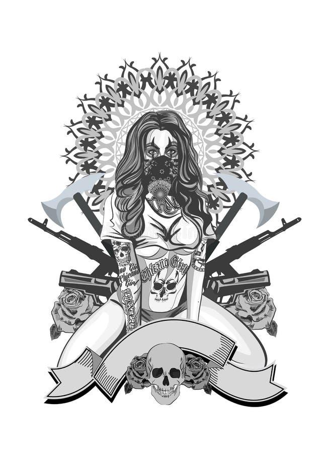 Иллюстрация вектора красивой женщины Мексиканско-американский стиль татуировки бесплатная иллюстрация