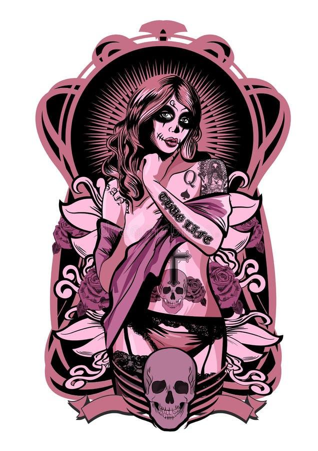 Иллюстрация вектора красивой женщины Мексиканско-американский стиль татуировки иллюстрация вектора