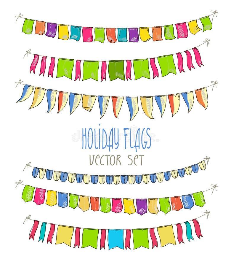 Иллюстрация вектора красочных гирлянд флага иллюстрация штока