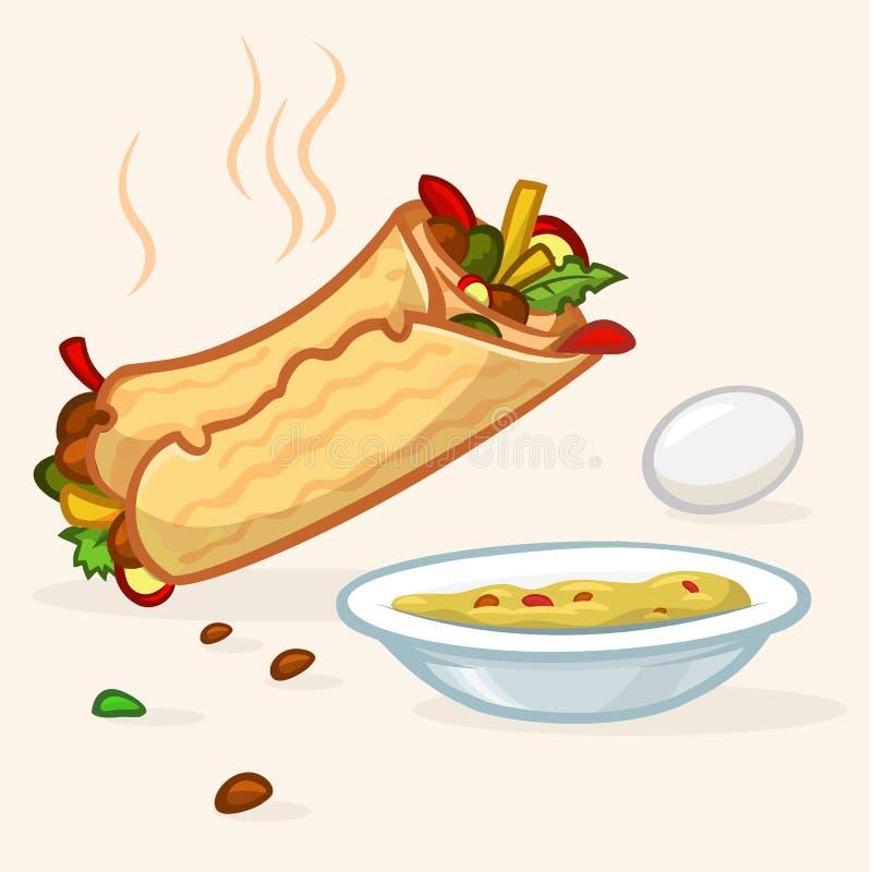 Иллюстрация вектора крена falafel улицы Израиля, плиты с hummus и яичка Значки еды улицы иллюстрация штока
