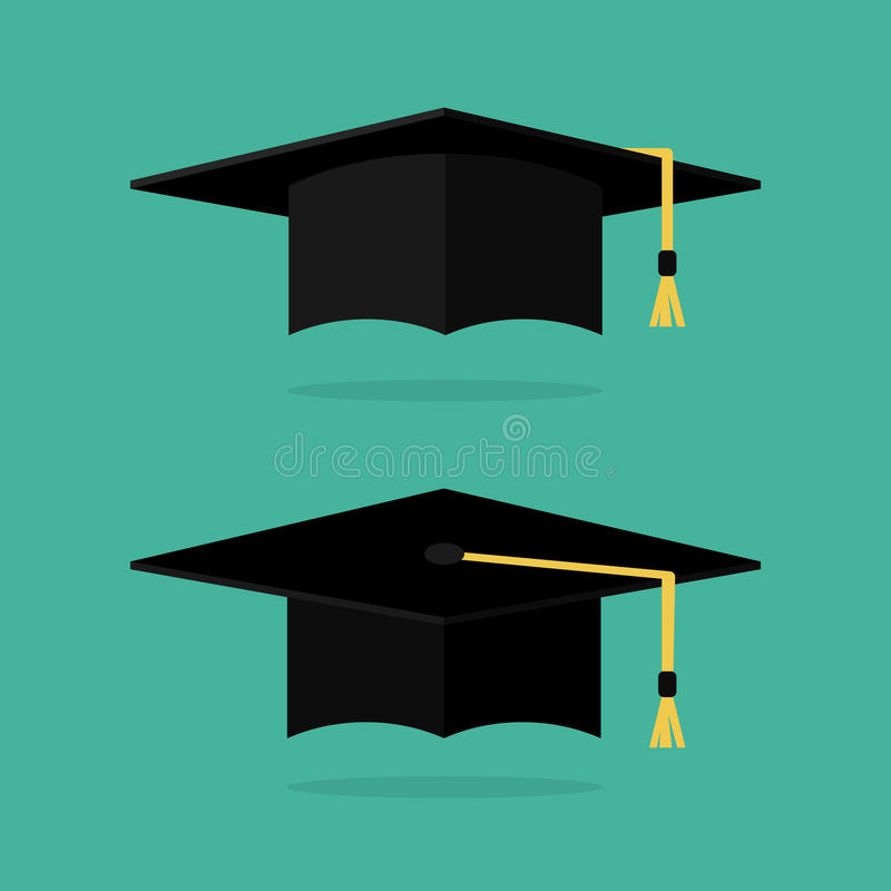 Иллюстрация вектора крышки градации плоская Логотип шляпы градации Академичные крышки Крышка градации изолированная на предпосылк бесплатная иллюстрация