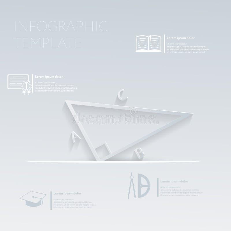 Иллюстрация вектора, математика треугольника график шаблона или план вебсайта иллюстрация вектора