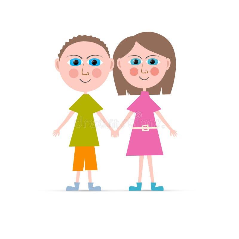 Иллюстрация вектора мальчика и девушки иллюстрация штока