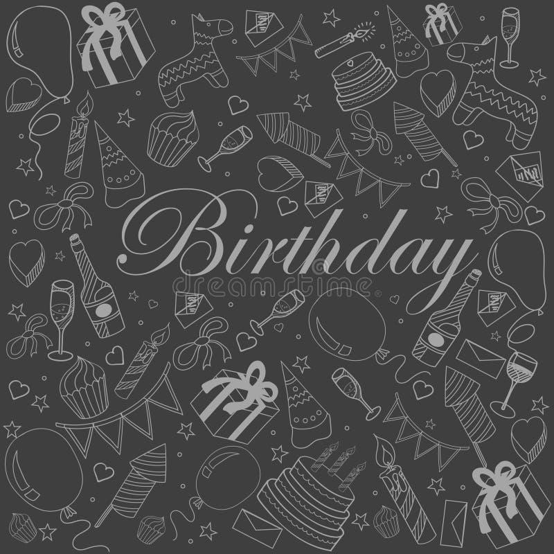 Иллюстрация вектора мела дня рождения иллюстрация штока
