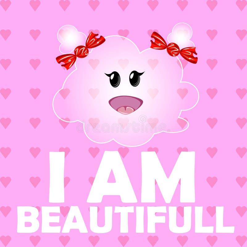 Иллюстрация вектора милого облака девушки Смешные дети персонажа из мультфильма на розовой предпосылке с сердцами иллюстрация вектора