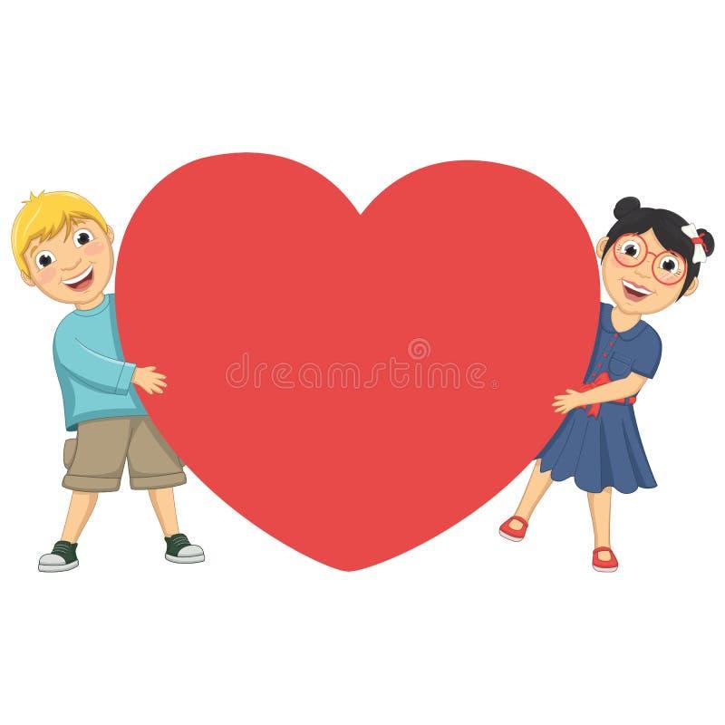 Иллюстрация вектора милых детей держа сердце иллюстрация штока