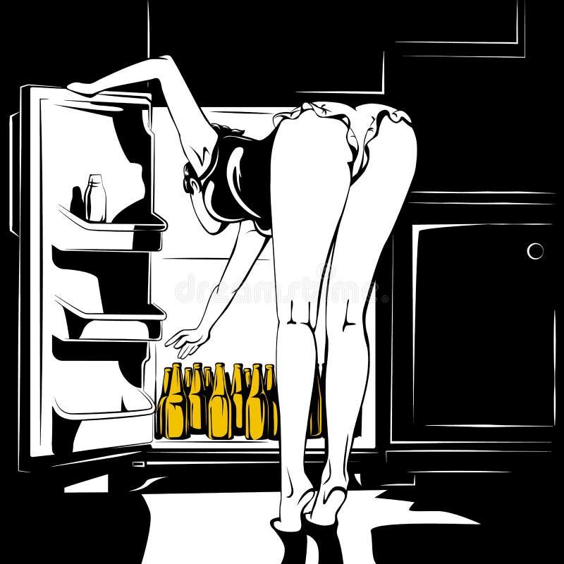 Иллюстрация вектора молодой женщины и пива бесплатная иллюстрация