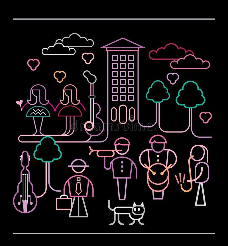 Иллюстрация вектора музыкантов улицы иллюстрация вектора
