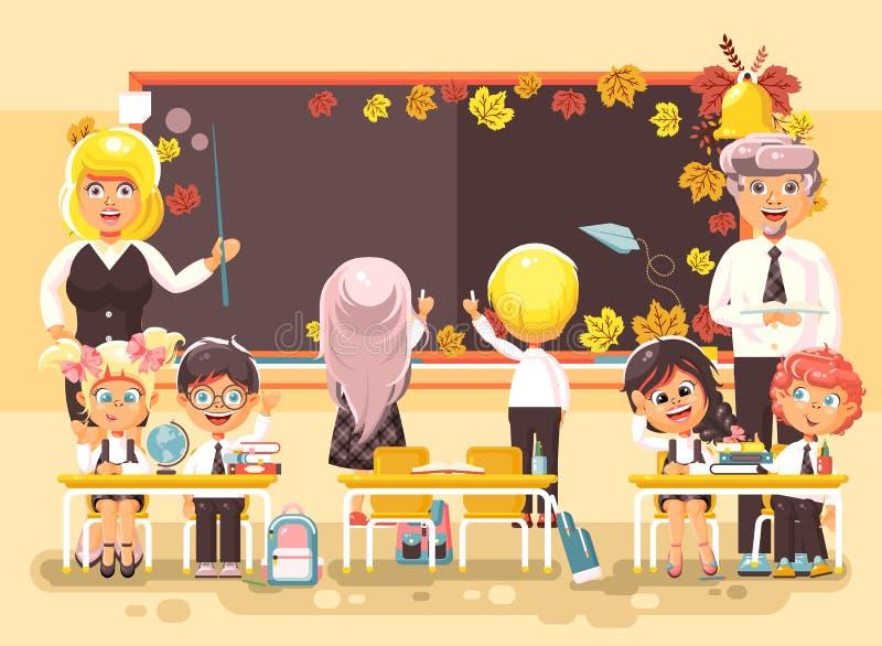 Иллюстрация вектора назад к учителям подмастерья зрачков школьницы школьника персонажей из мультфильма школы изучает в классе иллюстрация вектора