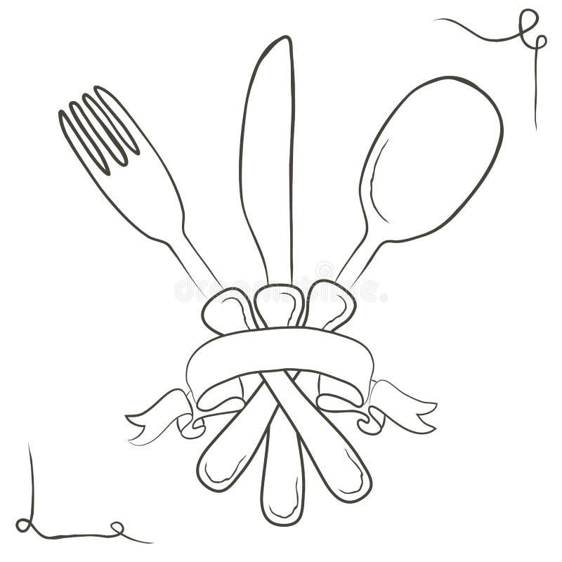 Иллюстрация вектора нарисованная рукой с комплектом столового прибора эскиз Винтаж иллюстрация вектора