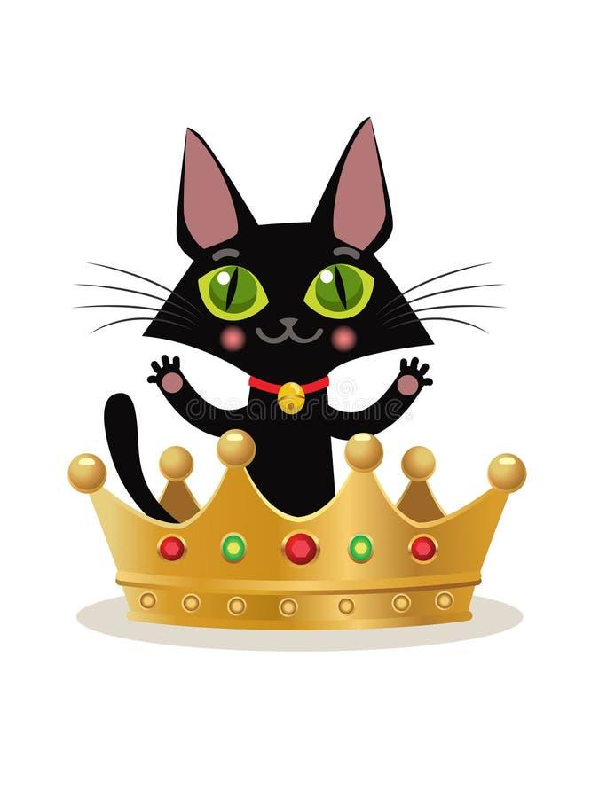 Иллюстрация вектора на белой предпосылке Интернет Meme котенка Крона Emoji кота Шляпа кроны кота иллюстрация штока