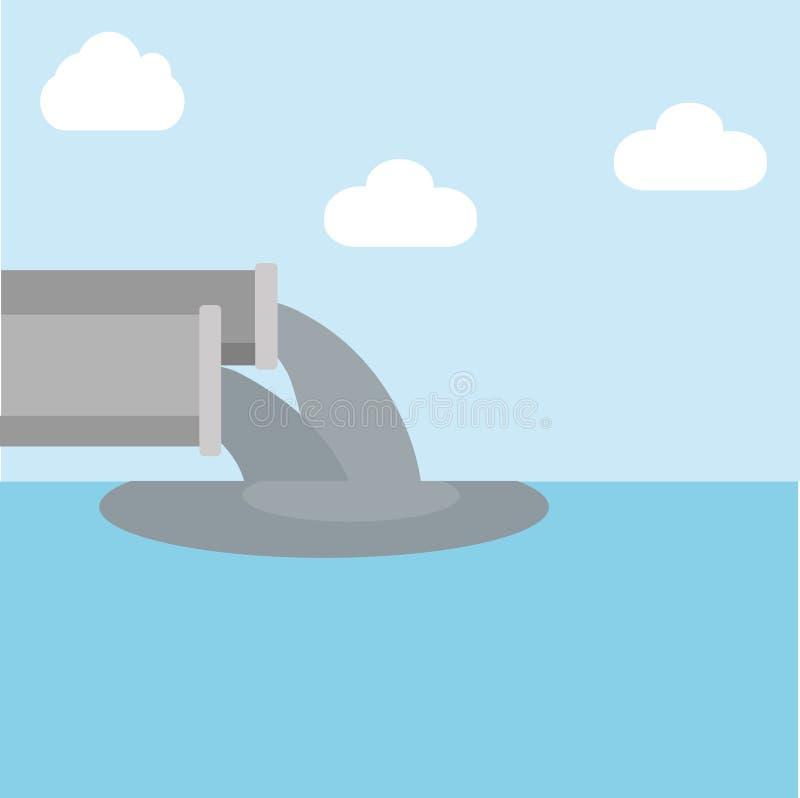 Иллюстрация вектора нечистот загрязняет озеро зеленая вода загрязнения примечания бесплатная иллюстрация