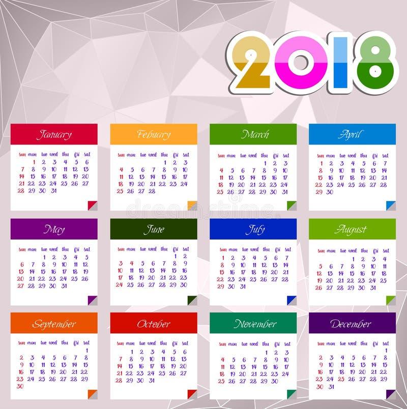 Иллюстрация вектора Нового Года календаря 2018 счастливая иллюстрация вектора