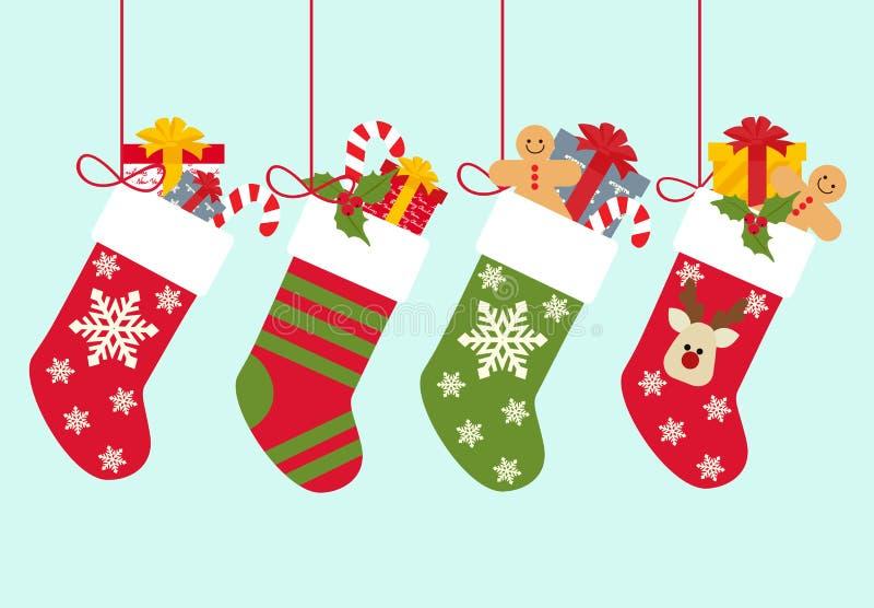 Иллюстрация вектора: Носки рождества с подарками иллюстрация штока