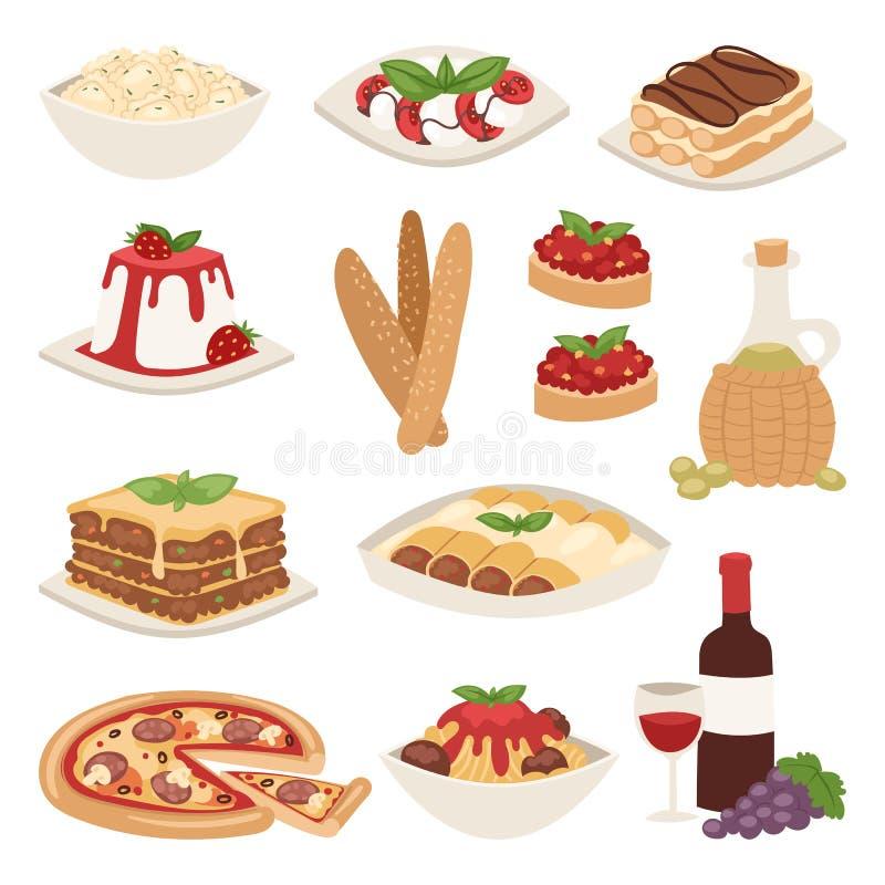 Иллюстрация вектора обеда кухни еды Италии шаржа очень вкусная домодельная варя свежая традиционная иллюстрация вектора
