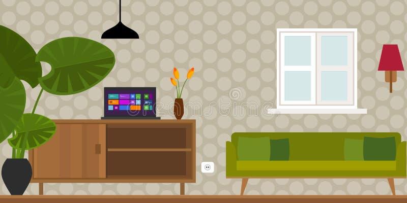 Иллюстрация вектора дома живущей комнаты внутренняя бесплатная иллюстрация