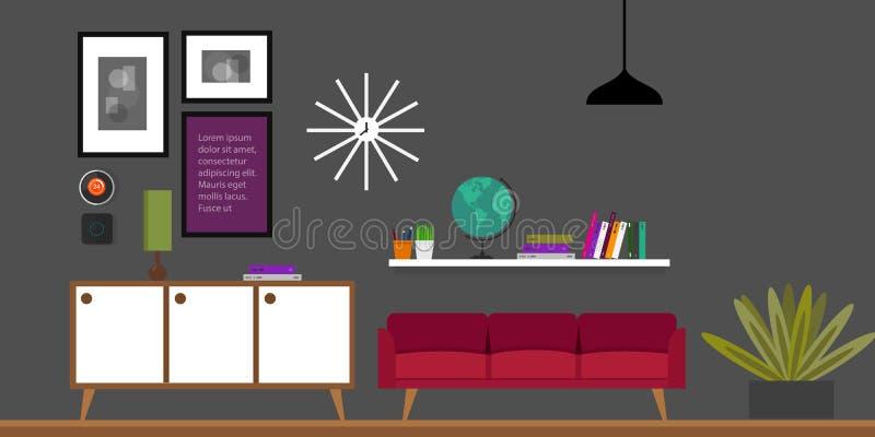 Иллюстрация вектора дома живущей комнаты внутренняя иллюстрация штока