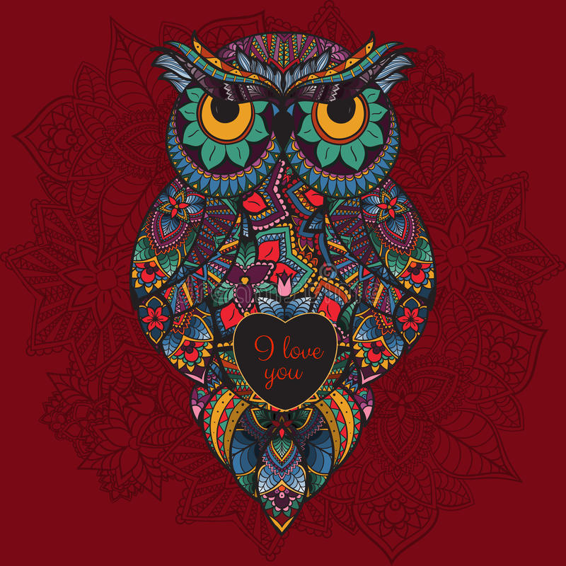 Иллюстрация вектора орнаментального сыча Птица проиллюстрированная в племенном Сыч Boho с влюбленностью Сердце на день валентинки иллюстрация штока