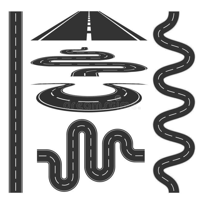 Иллюстрация вектора дорог и шоссе установленная значками бесплатная иллюстрация