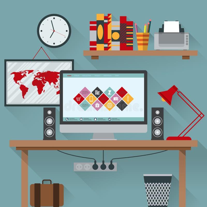 Иллюстрация вектора офиса имеет компьютер бесплатная иллюстрация